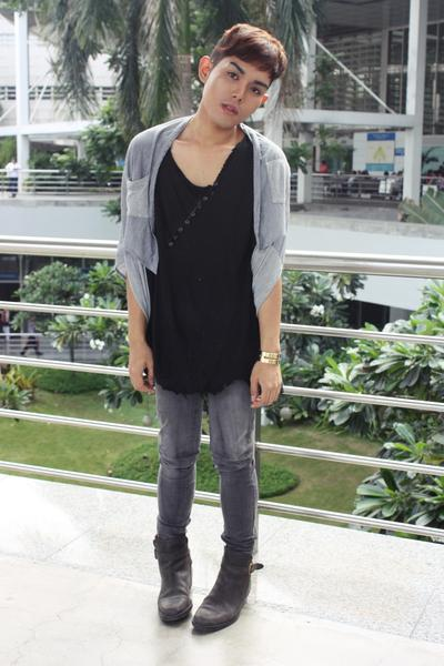 gray Kaiser vest - gray Cheap Monday pants - gray Stradivarius boots - black Num