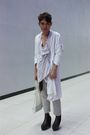 White-coat-purple-top-beige-pants-brown-soule-phenomenon-shoes