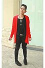 Red-dorothy-perkins-coat-black-fruit-of-the-loom-shirt-black-bebe-pants-bl