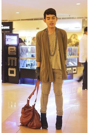 green DREX FABLE coat - beige banana republic shirt - beige hongkong pants - bla