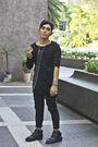 Black-shredded-top-black-xing-pants-black-from-harajuku-boots-silver-anago