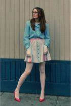 blue vintage blouse - beige Urban Outfitters skirt - pink vintage shoes - white