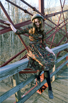 brown vintage dress - gray BC Footwear shoes - gray Don Anderson hat