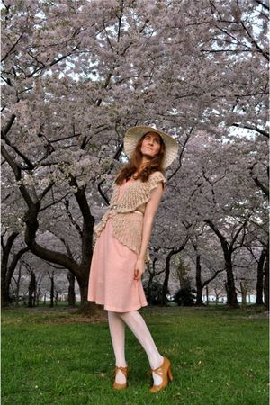 pink vintage dress - beige Wet Seal sweater - white calvin klein belt - white vi