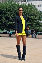 yellow Naven shorts - black bcbg max azria blazer - black Alexander Wang bag