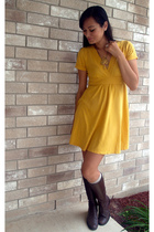 gold Forever 21 dress - brown Hunt Club boots - gold Style Station necklace