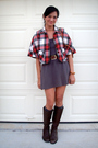 Gray-american-apparel-dress-red-built-by-wendy-jacket-brown-hunt-club-boots-