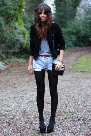 zebra print Topshop bag - suede vintage jacket - high waisted Levis shorts