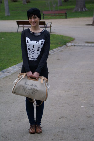 brown kling bag - dark brown Stradivarius shoes - black Zara jeans