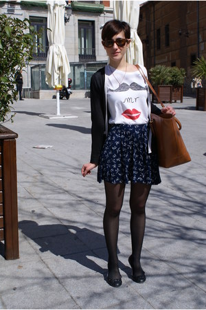 white Zara t-shirt - brown Zara bag - navy asos skirt