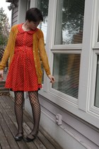 red thrifted dress - yellow Rodarte for Target cardigan - black gifted tights -
