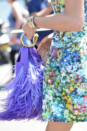 dress - dress - dress - feathers bag