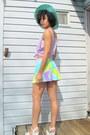 Light-blue-retro-skirt-aquamarine-hat-periwinkle-sheer-sandals