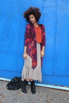 beige skirt - magenta cardigan - burnt orange top