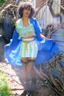 Aquamarine-sheer-shirt-blue-sheer-cardigan-white-striped-skirt
