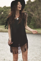 Black Batwing Dress with Tassels