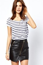 Asymmetric Zip Imitated Leather Skirt