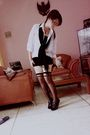 Black-shorts-black-tights-black-shoes-black-scarf-white-shirt