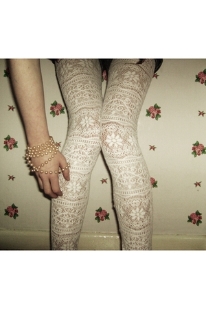 white tights - beige accessories