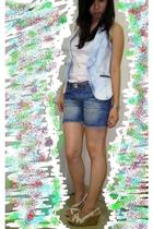 Zara vest - Topshop top - far east shorts - Charles & Keith shoes - redherring b