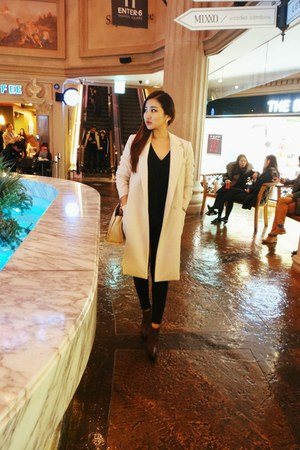 neutral Zara bag - ivory from Korea coat - black Topshop pants