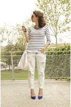 light blue Zara jeans - white Mango bag - white striped Zara t-shirt