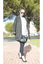 charcoal gray Mango coat - black Zara heels
