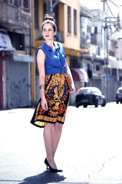 blue top blue miss anergy top - gold vintage skirt - black classic Zara heels