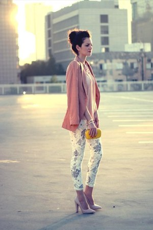 flowers print Zara pants - pink blazer H&amp;M jacket - yellow H&amp;M bag