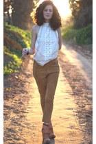 cream H&M blouse - bronze H&M pants - burnt orange Aldo wedges