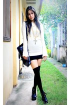 black Parisian shoes - beige runway sweater - black socks - black cross Forever