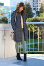 navy tweed peacoat H&M coat - black suede booties Ivanka Trump boots