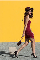 crimson Charlotte Russe dress - crimson H&M hat