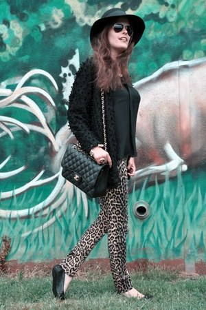 black Patrizia Pepe hat - orange Zara jeans - black Chanel bag