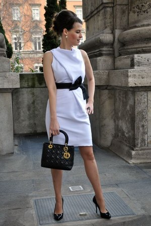 black dior bag - white DIY sewing dress - black Gucci heels