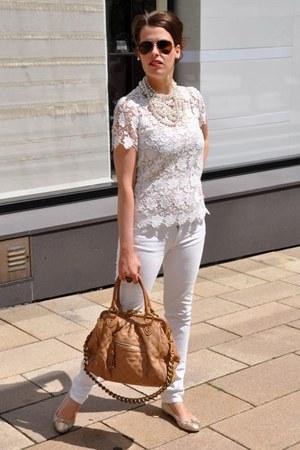 white Zara blouse - white Rock & Republic jeans - beige Marc Jacobs bag