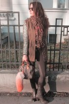 army green via eBay jacket - crimson Belstaff boots - crimson Zara leggings