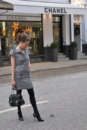 black Fendi bag - white DIYsewing dress - black Gucci heels