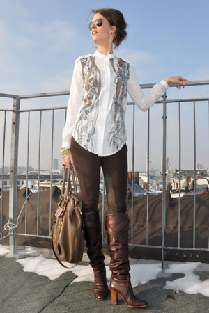 brown Prada bag - dark brown Chloe boots - dark brown Zara leggings