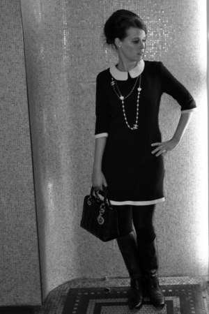 black Gucci boots - black DiY sewing dress - black dior bag