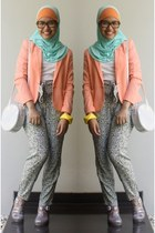silver glitter Forever 21 bag - light orange Forever 21 blazer