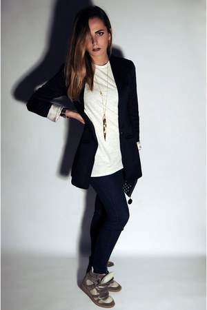 black H&amp;M blazer - navy Calzedonia leggings - off white H&amp;M Man t-shirt