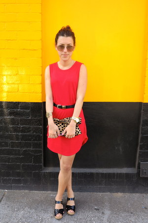 red friend of mine dress - Clare Vivier bag - Ray Ban sunglasses - asos bracelet