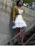 gold Halogen cardigan - white unknown brand dress - brown Old Navy belt - brown