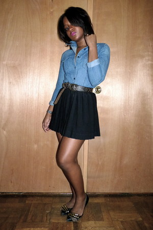denim Uniqlo top - brown Old Navy belt - pleated H&M skirt