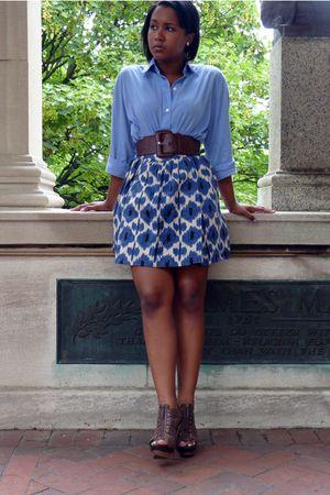 blue No label shirt - blue Michael Kors skirt - brown Nordstrom belt - brown Jes