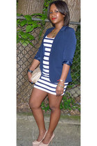 white bodycon striped H&M dress - blue Free Hug blazer - gold bow Aldo bag