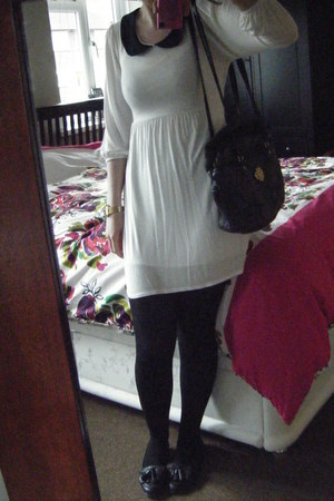 white new look dress - black Beyond Retro bag - black Topshop loafers
