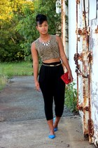 harem pants - red snake skin purse - belt - top - flats