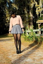 leather top - gray skirt - lace-up booties pumps